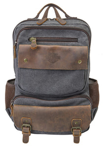 Harley-Davidson® Mustang Vintage Leather & Heather Gray Backpack