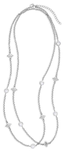 Harley-Davidson® Women's Rhinestone Bar & Shield Wrap Necklace, Silver