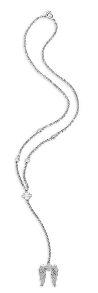 Harley-Davidson® Women's Rhinestone Downswept Wing Necklace, Silver