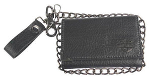 Harley-Davidson® Mens Gunmetal Leather Medium Biker Tri-Fold Wallet