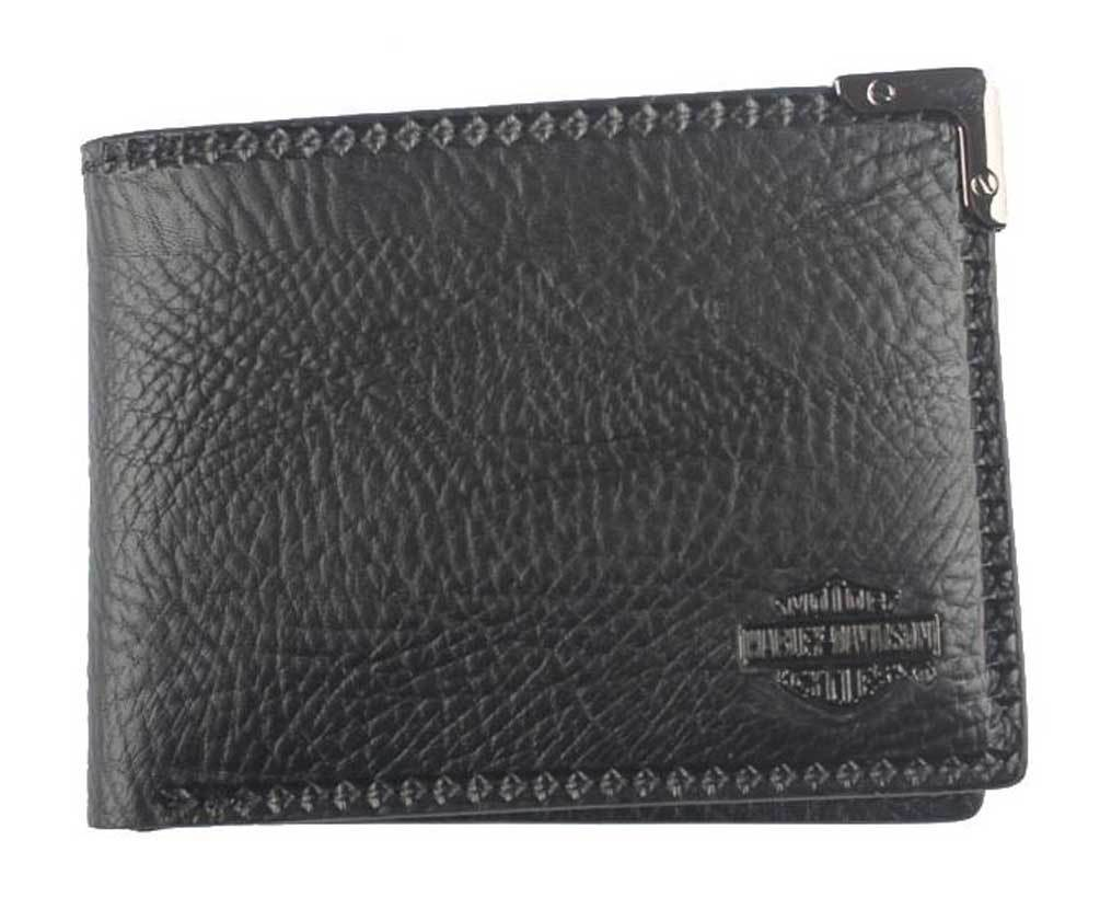 Harley-Davidson® Men's Gunmetal Leather Billfold w/ Removable ID