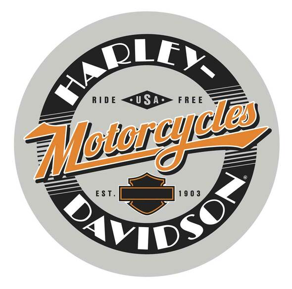 Harley-Davidson® Ride Free Round Cafe Table, Durable Steel Base - Black