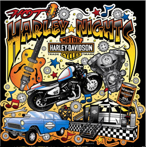 HOT HARLEY NIGHTS CUSTOM WOMENS V-NECK  TEE