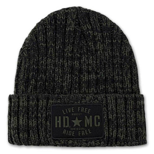 HARLEY-DAVIDSON MEN'S MILITARY STAR RIBBED KNIT HAT