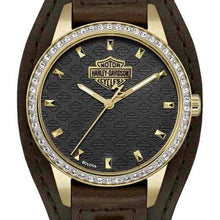 HARLEY-DAVIDSON WOMEN'S CRYSTAL BROWN CUFF WATCH