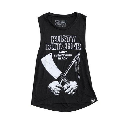 BLACK WOMENS MUSCLE TANK