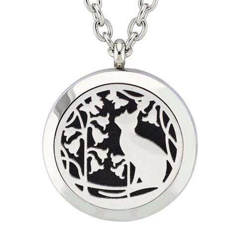 Aroma Therapy Essential Oil Diffuser Necklace - Cat in the Garden