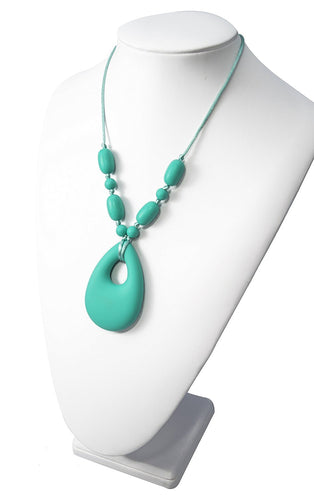Chewy Jewels Silicone Teething Necklace Aqua Oval