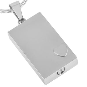 Rectangular Urn Pendant Necklace with Raised Heart