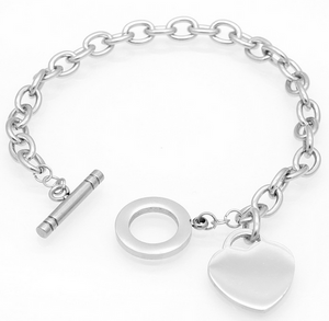 Silver Heart Charm braclet with T-Bar Cross