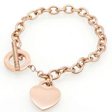 Rose Gold  Heart Charm braclet with T-Bar Cross