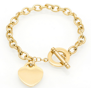 Gold  Heart Charm braclet with T-Bar Cross