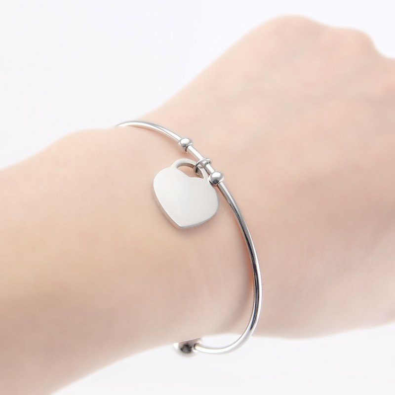 Stainless Steel Bangle Bracelet with Heart Charm