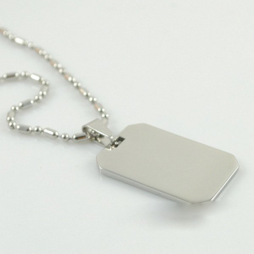 Engraveable Dog Tag Style Necklace - Cutoff Corners