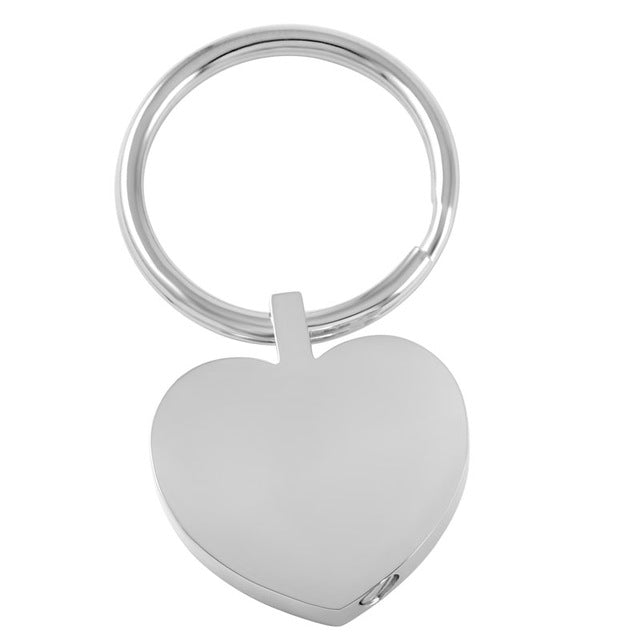 Stainless Steel Engravable Heart Urn Keychain