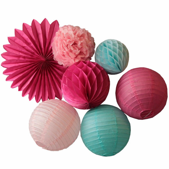 (Set of 7) - Decor Kit - Lanterns & Pom Poms - Other Colors Available