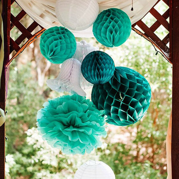(Set of 8) - Decoration Kit - Teal & White