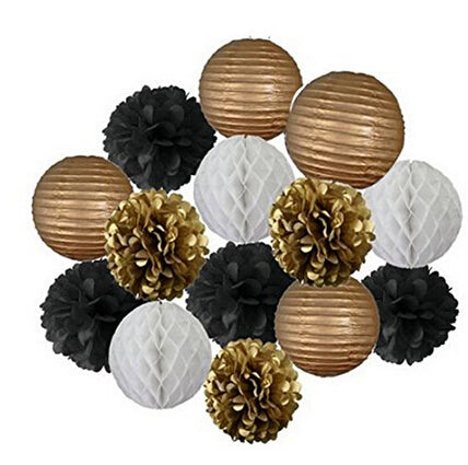 (Set of 14) - Decoration Kit - Gold, Black & White