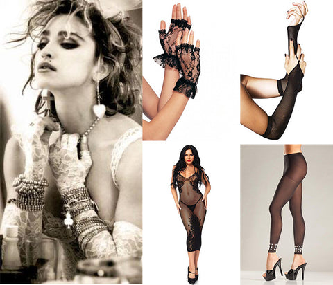 madonna fashion style accessories layer lace lingerie accessories fashion style 80s lace lingerie stocking bodystocking layer gloves