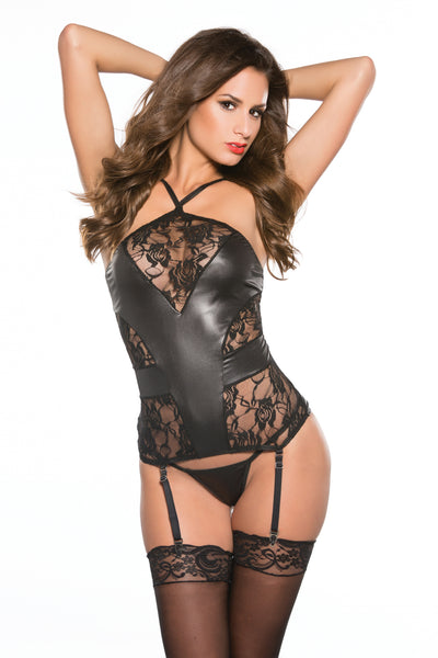 Kitten Lace & Wet Look Corset One Size