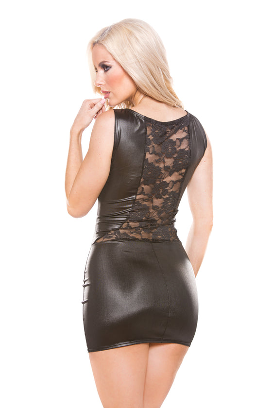 Kitten Lace & Wet Look Dress One Size