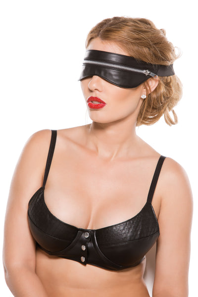 Black Faux Leather Zip Mask One Size