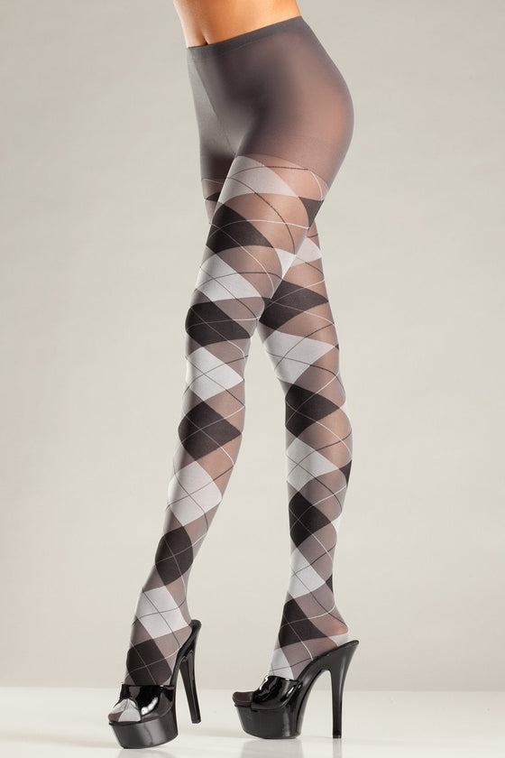 Grey & Black Argyle Tights One Size