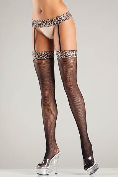 Leopard Fishnet Garterbelt Stockings One Size