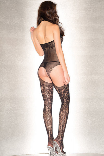 Plunging Floral Fishnet Suspender Bodystocking One Size