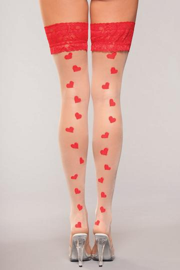 Lace Top Heart Hold Ups One Size