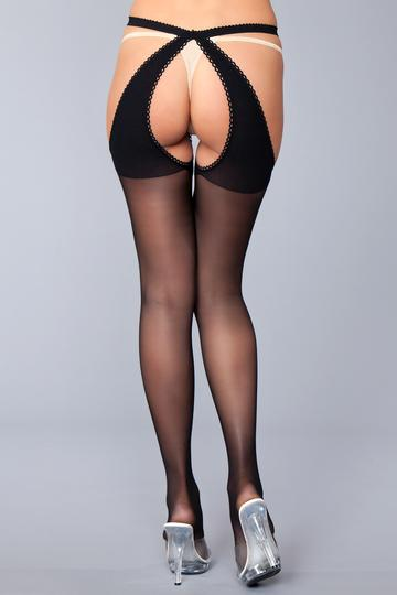 Crotchless Stocking With Open Back One Size