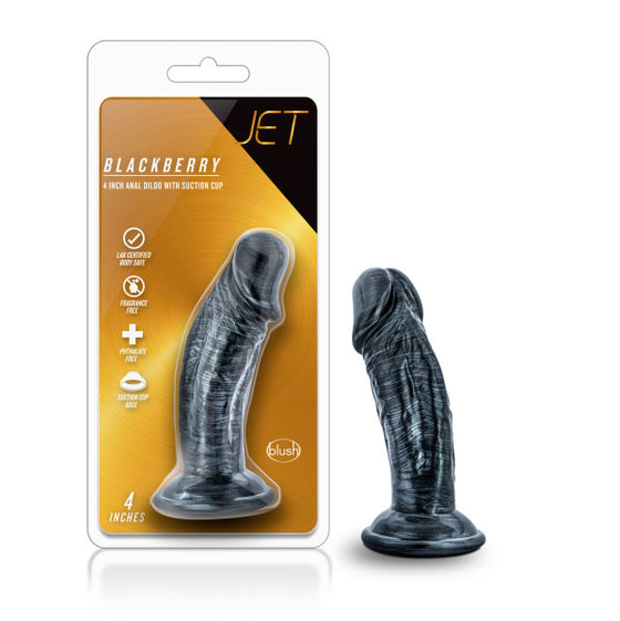 Jet Blackberry 4in Dildo Carbon Metallic Black