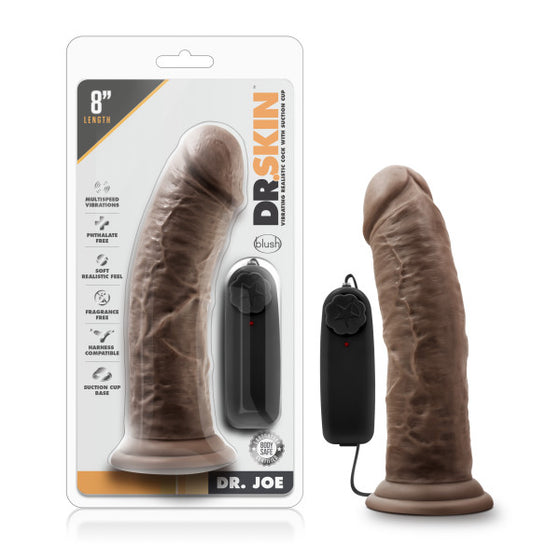Dr. Skin Dr. Joe 8in Vibrating Cock With Suction Cup Chocolate