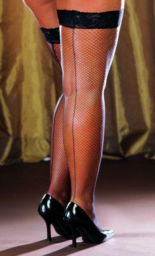 Thigh High Fishnet Black One Size Queen Inmilanin