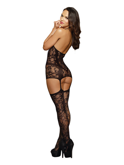 Lace Fishnet Halter Garter Dress Black One Size