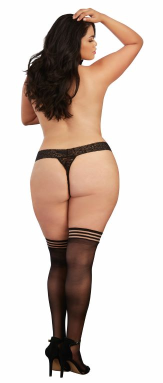 Strappy Top Sheer Thigh High One Size Queen