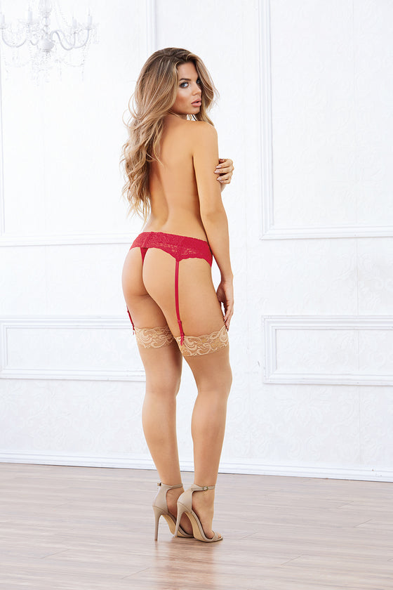 Lace Garter Belt One Size Red