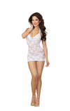 T Back Chemise & G String One Size White