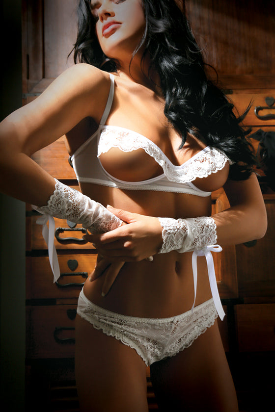 Forever Yours Bra Panty & Gloves White One Size