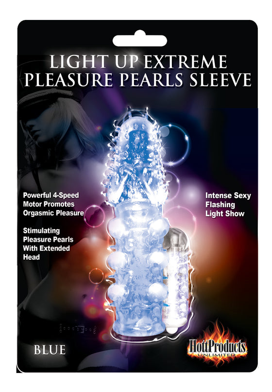 Light Up Vibrating Pleasure Sleeve Blue