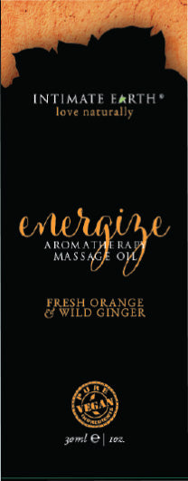 Intimate Earth Energize Massage Oil Foil Sachet 1 Oz.