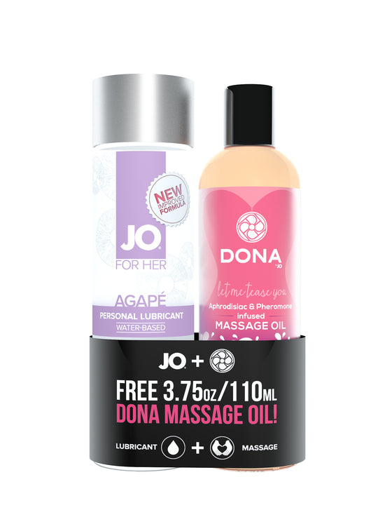 Jo Agape Original 4 Oz. + Free Dona Flirty Massage Oil 3.75 Oz.