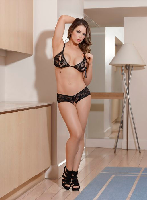 Bra & Split Short Set Black Large