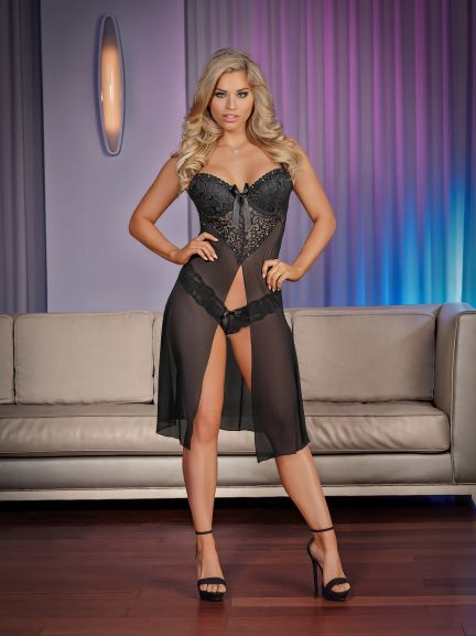 Short Gown & Panty Large Black