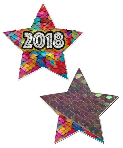 Pastease Happy New Years 2018 Color Changing Sequin Star