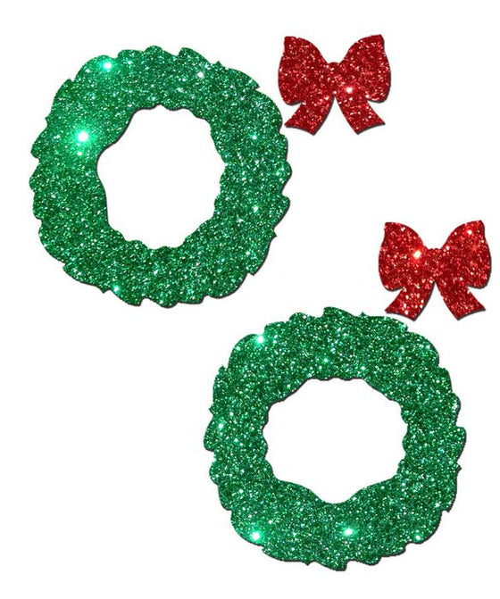 Pastease Peek a Boob Green Glitter Wreath WRed Glitter Bow