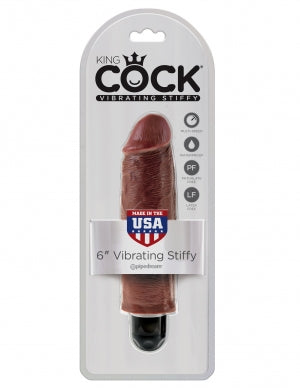 King Cock 6 Vibrating Stiffy Brown