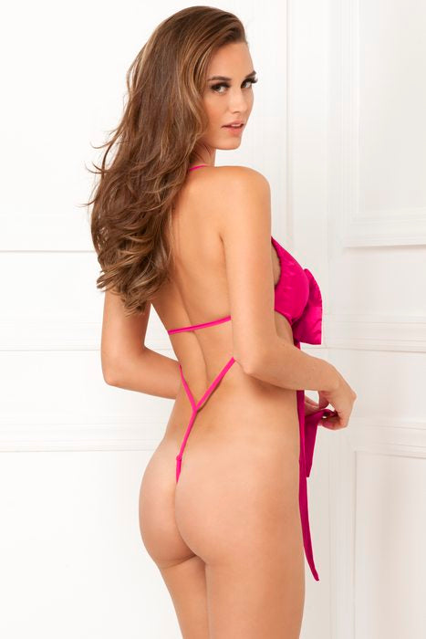 Satin Bow Teddy Hot Pink Small
