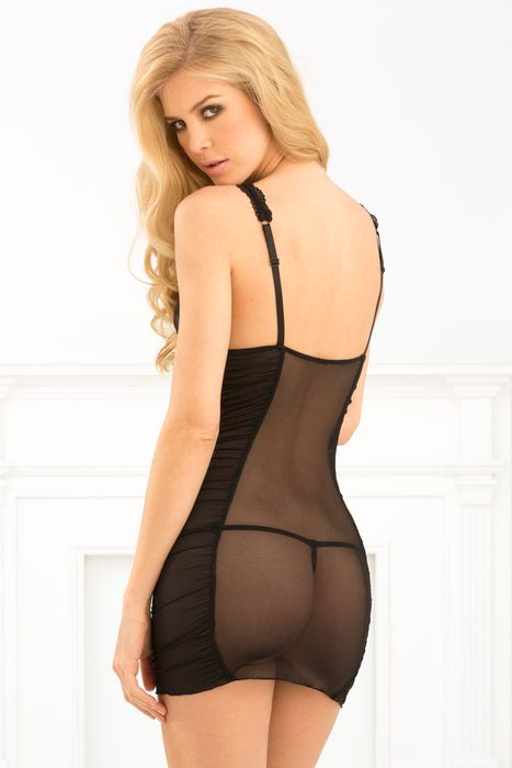 Ruched Mesh & Chemise Black ML
