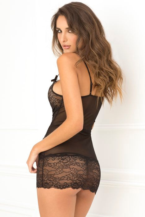Lace Up Front Chemise Black ML